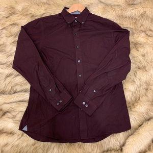 Maroon Slim Fit Van Heusen Oxford Collared Shirt